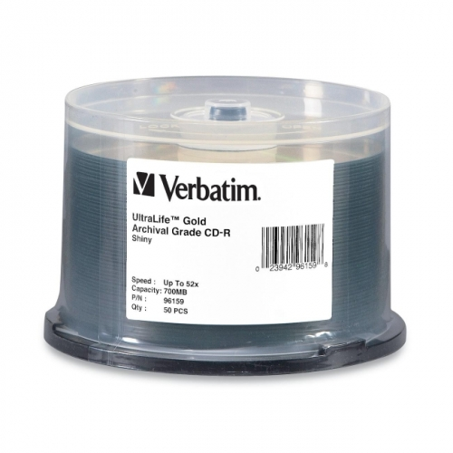 Verbatim CD-R 700MB 52X UltraLife Gold Archival Grade with Branded Surface and Hard Coat - 50pk Spindle