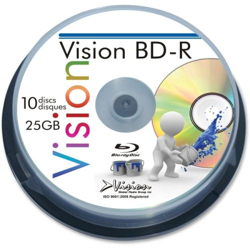 Vision Blu-ray Recordable Media - BD-R - 6x - 25GB - 10 Pack Spindle