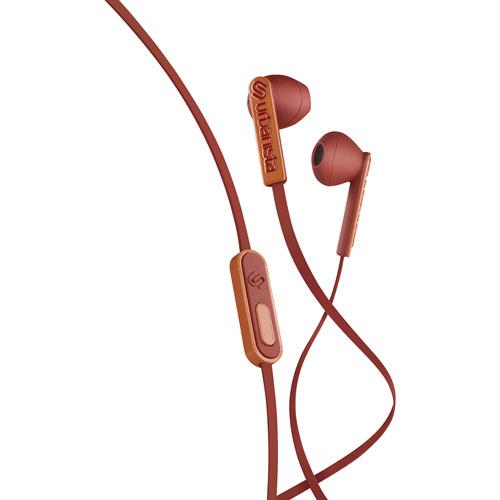 Écouteurs bouton San Francisco ErgonoMic d'Urbanista avec unité de commande et micro - Brun moyen