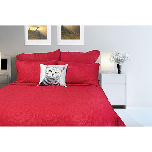 Ens. courtepointe 3 pces en coton contexture 140 Mandalay de Gouchee Design- Très grand lit - Rouge