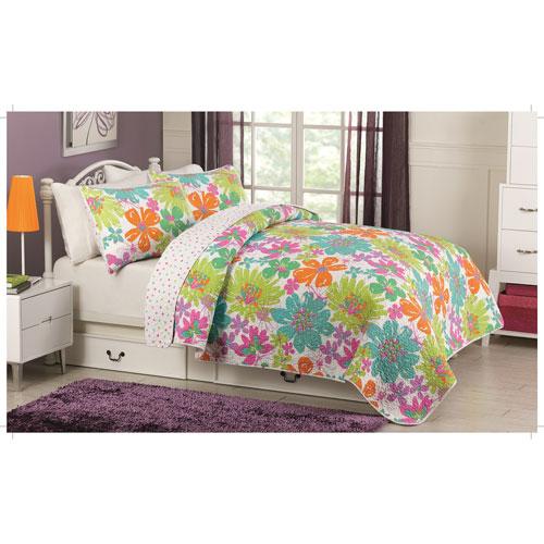 Gouchee Design Flower Splash 3-Piece 140 Thread Count Cotton Quilt Set - Queen