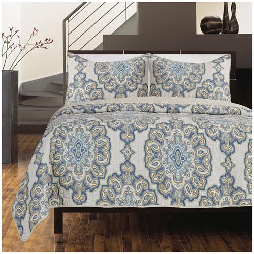 Ens. housse douillette 3 pièces coton cont. 140 Rome de Gouchee Design - T. g. lit - Beige-Brun-Bleu