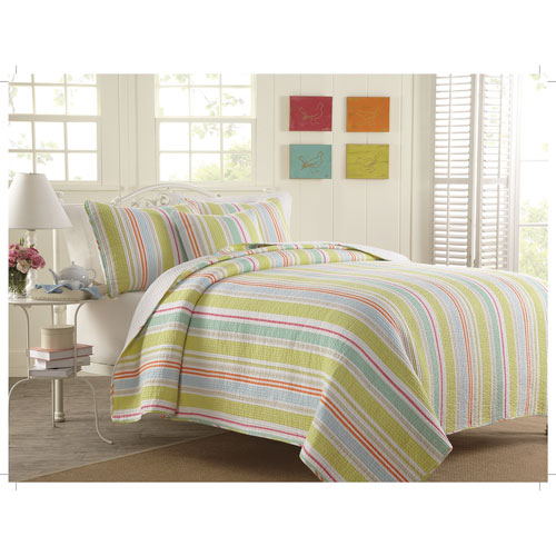 Gouchee Design William Stripe 2-Piece 140 Thread Count Cotton Quilt Set - Single - Lime/Red/Blue