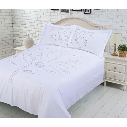 Gouchee Design Winter Tree 3-Piece 200 Thread Count Cotton Duvet Cover Set - Queen - White
