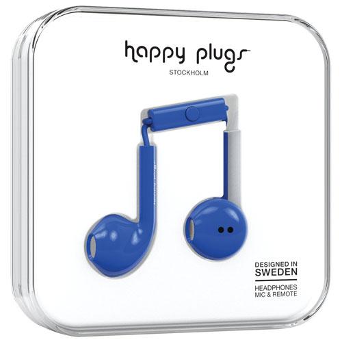 Écouteurs bouton avec microphone de Happy Plugs (7813) - Cobalt