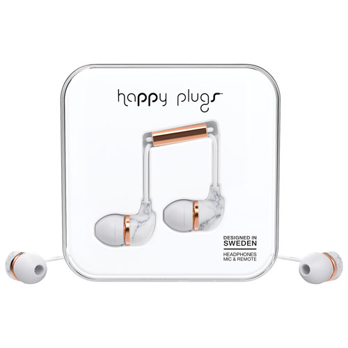 Happy Plugs Deluxe In-Ear Headphones with Mic - White Marble Rose