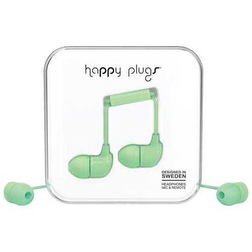 Écouteurs bouton avec microphone de Happy Plugs - Menthe
