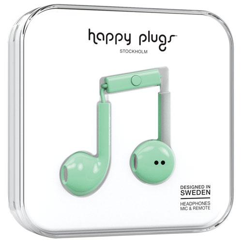 Écouteurs bouton avec microphone de Happy Plugs (7814) - Menthe