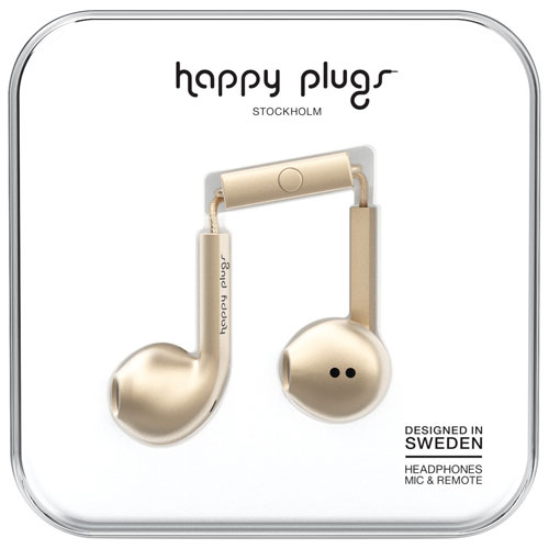 Happy Plugs Deluxe In-Ear Headphones with Mic (7826) - Champagne