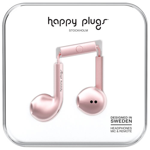 Happy Plugs Deluxe In-Ear Headphones with Mic (7827) - Pink Gold