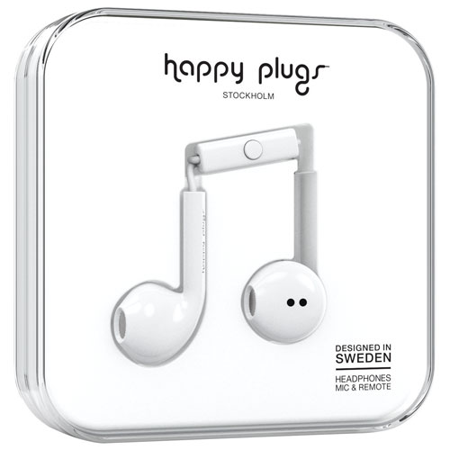 Happy Plugs In-Ear Headphones with Mic (7819) - White