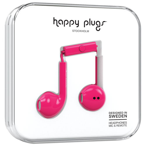 Happy Plugs In-Ear Headphones with Mic (7818) - Cerise