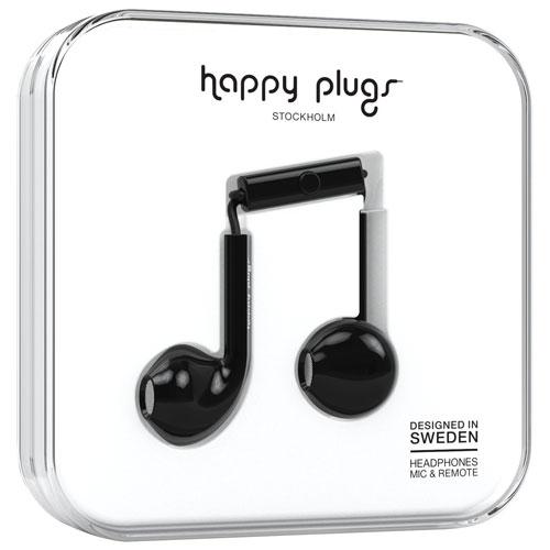 Happy Plugs In-Ear Headphones with Mic (7815) - Black