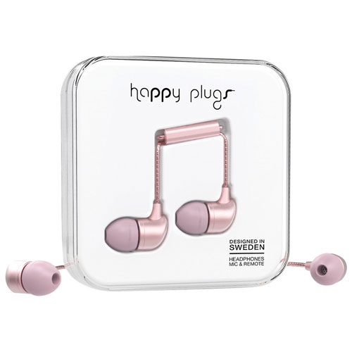 Happy Plugs Deluxe In-Ear Headphones with Mic - Pink Gold