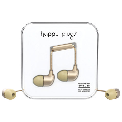 Happy Plugs Deluxe In-Ear Headphones with Mic - Champagne