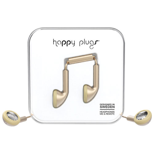 Écouteurs bouton de luxe avec microphone de Happy Plugs - Champagne