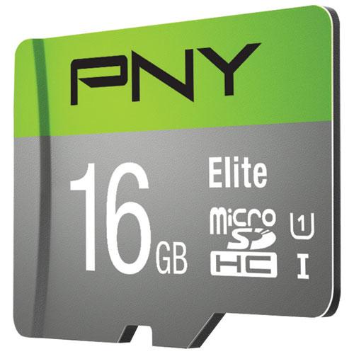 Carte mémoire microSDHC de 16 Go à 85 Mo/s Elite de PNY