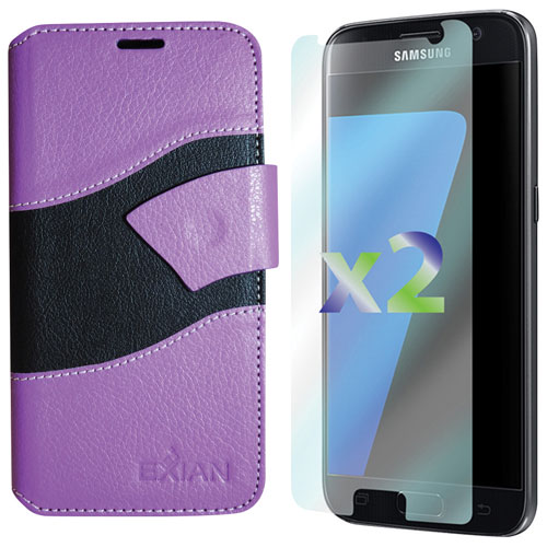 Exian Samsung Galaxy S7 Folio Case with Screen Protectors - Purple/Black