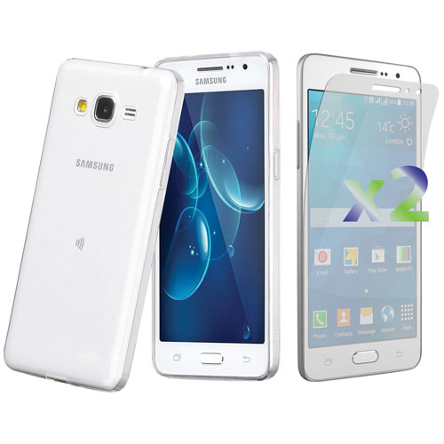 Exian Samsung Grand Prime Fitted Soft Shell Case with Screen Protectors - Clear