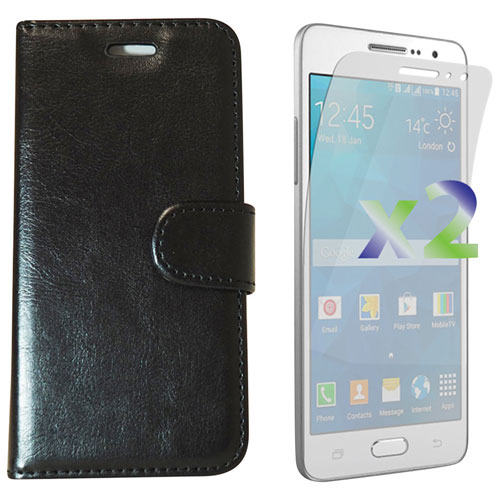 Exian Samsung Grand Prime Folio Case with Screen Protectors - Black