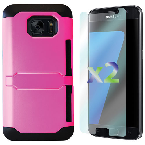 Exian Samsung Galaxy S7 Fitted Soft Shell Case with Screen Protectors - Pink
