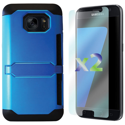 Exian Samsung Galaxy S7 Fitted Soft Shell Case with Screen Protectors - Blue