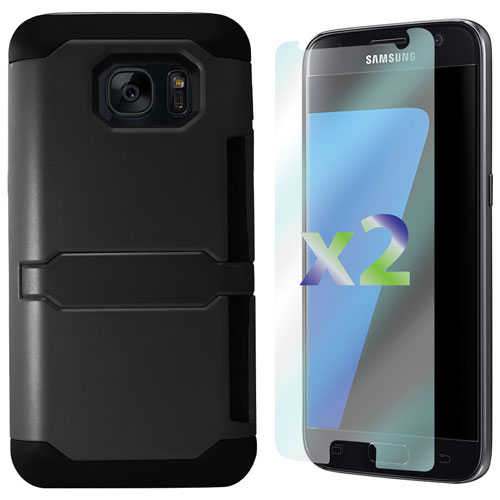 Exian Samsung Galaxy S7 Fitted Soft Shell Case with Screen Protectors - Black