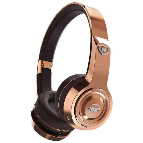 Monster Elements On-Ear Sound Isolating Wireless Headphones with Mic - Rose Gold