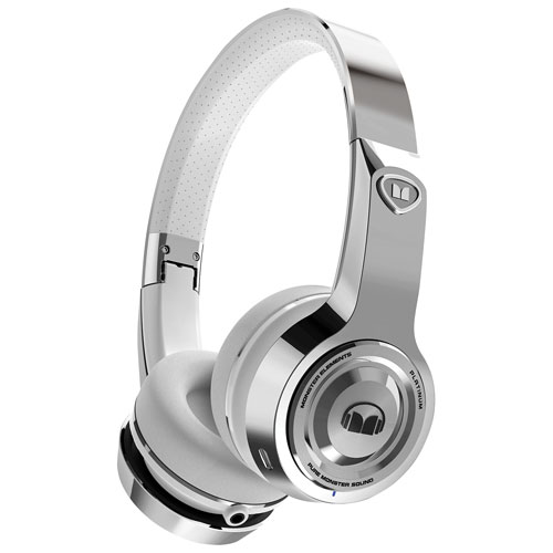 Monster Elements On-Ear Sound Isolating Wireless Headphones with Mic - Platinum