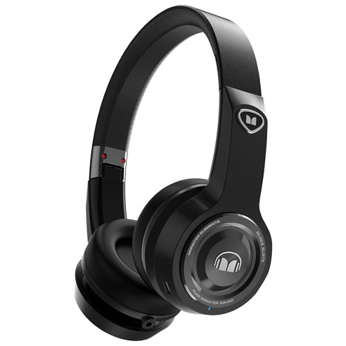 Monster Elements On-Ear Sound Isolating Wireless Headphones with Mic - Black Slate