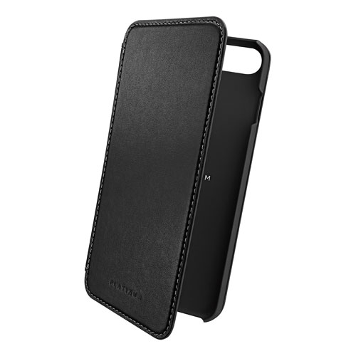 Platinum iPhone 7 Plus Leather Fitted Hard Shell Case - Black