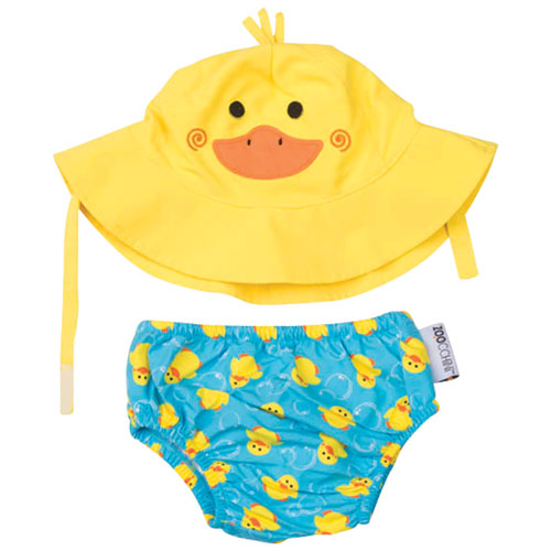 Zoocchini Baby Duck Swim Diaper   Sun Hat Set - 6 to 12 Months -  Yellow Blue - Online Only e41f98fa292