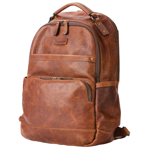 ad7e97f878fd Frye Logan 15.6L Leather Day Backpack - Cognac   Backpacks - Best Buy Canada