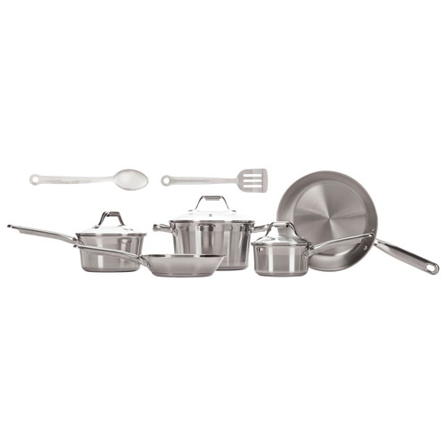 T-Fal Elegance 10-Piece Stainless Steel Cookware Set - Stainless Steel