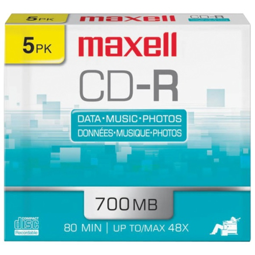 Maxell CDR 700 5-Pack SLIM CASE 80Min/700 MB Slim Cases 648205