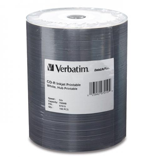 Verbatim CD-R 700MB 52X White Inkjet Printable, Hub Printable - 100pk Tape Wrap