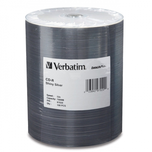 Verbatim CD-R 700MB 52X DataLifePlus Shiny Silver Silk Screen Printable - 100pk Tape Wrap Spindle