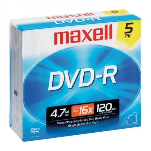 Maxell DVD Recordable Media - DVD-R - 16x - 4.70 GB - 5 Pack Jewel Case