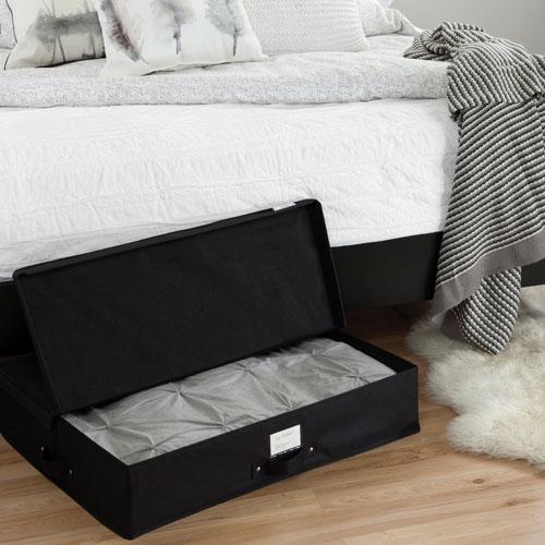 bo te de rangement placer sous le lit storit de south shore noir range placard et. Black Bedroom Furniture Sets. Home Design Ideas