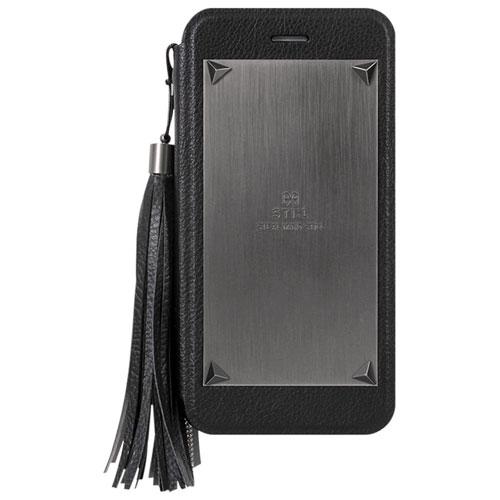 Étui à rabat Love Triangle de STI:L pour iPhone 6/6s avec décoration amovible - Noir
