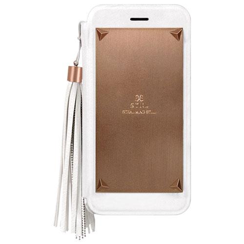 Étui à rabat avec pampille amovible Love Triangle de STI:L pour iPhone 6/6s - Blanc