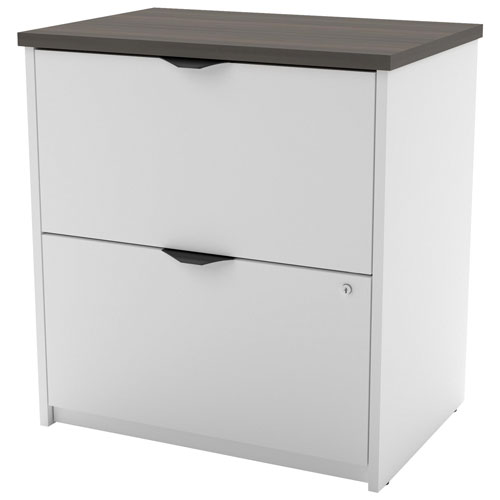 Innova Contemporary 2 Drawer Lateral Filing Cabinet   White/Antigua    Online Only