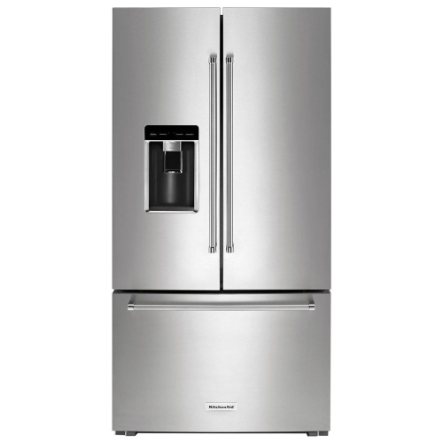 "KitchenAid 36"" 23.8 Cu. Ft. Counter-Depth French Door Refrigerator with Water & Ice Dispenser (KRFC704FPS) - Stainless Steel"