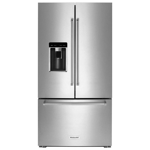 "KitchenAid 36"" 23.8 Cu. Ft. Counter-Depth French Door Refrigerator with Water & Ice Dispenser (KRFC704FSS) - Stainless Steel"