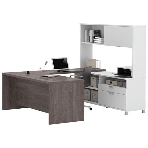 prolinea ushaped desk with hutch whitebark grey