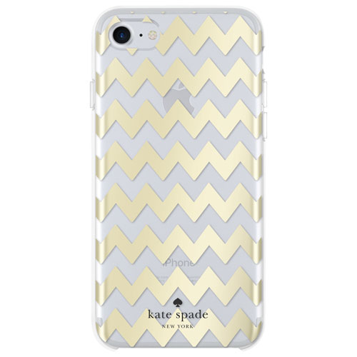 Étui rigide ajusté Chevron de Kate Spade New York pour iPhone 7/8 - Doré