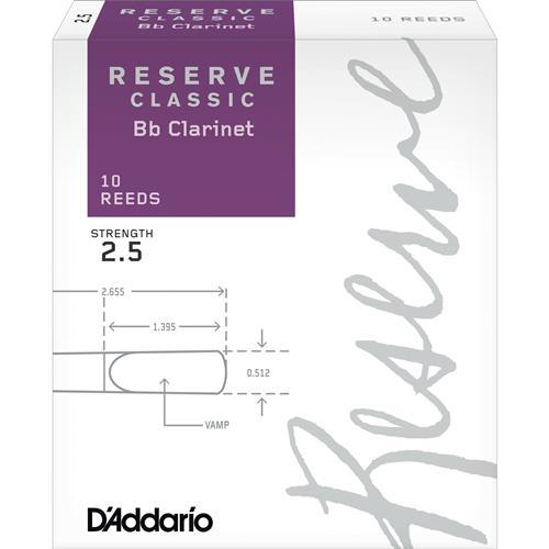 Reserve Classic Bb Clarinet Reeds - #2.5, 10 Box