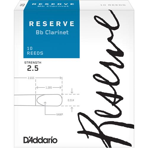 Reserve Bb Clarinet Reeds - #2.5, 10 Box