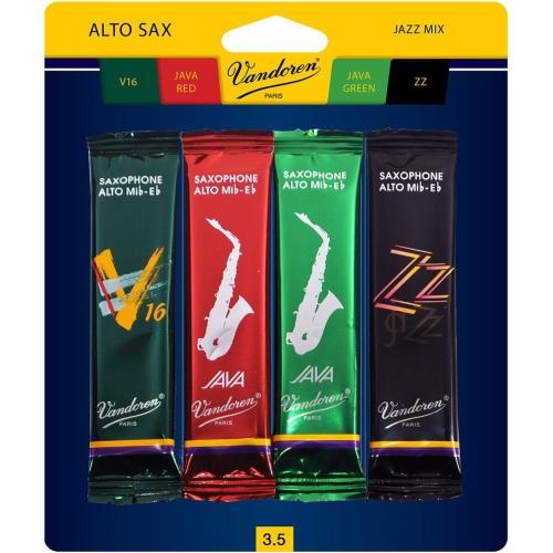 Vandoren Tenor Saxophone Jazz Mix Reed Pack - #3.5, 4 Pack