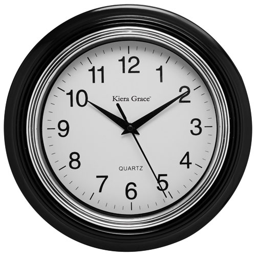 Horloge murale analogique Aster de Kiera Grace - Noir